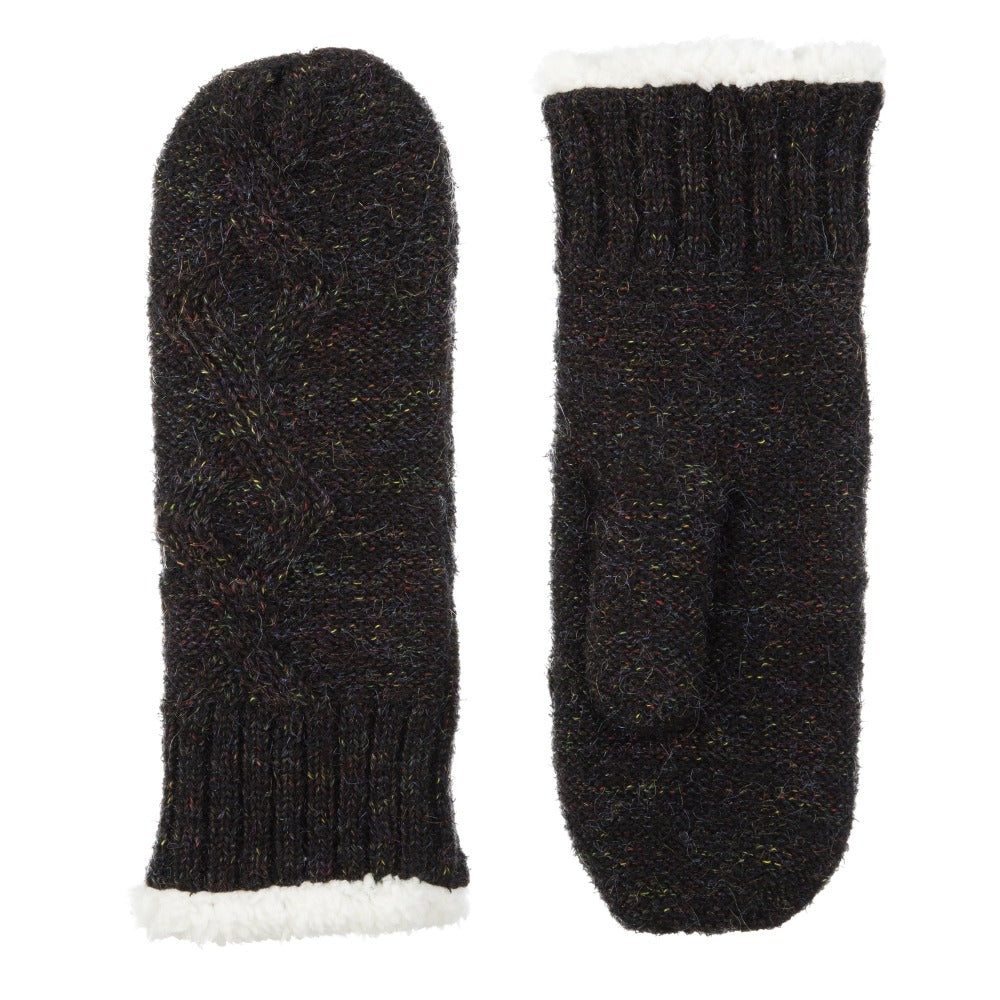 Women's Recycled RPET Cable Knit Mittens in Black Front and Back