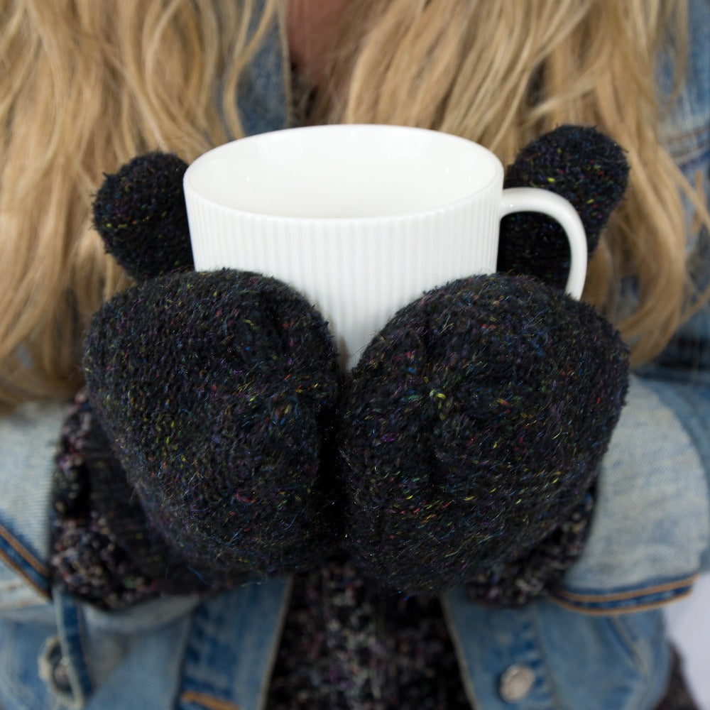 Women's Recycled RPET Cable Knit Mittens in Black on Model