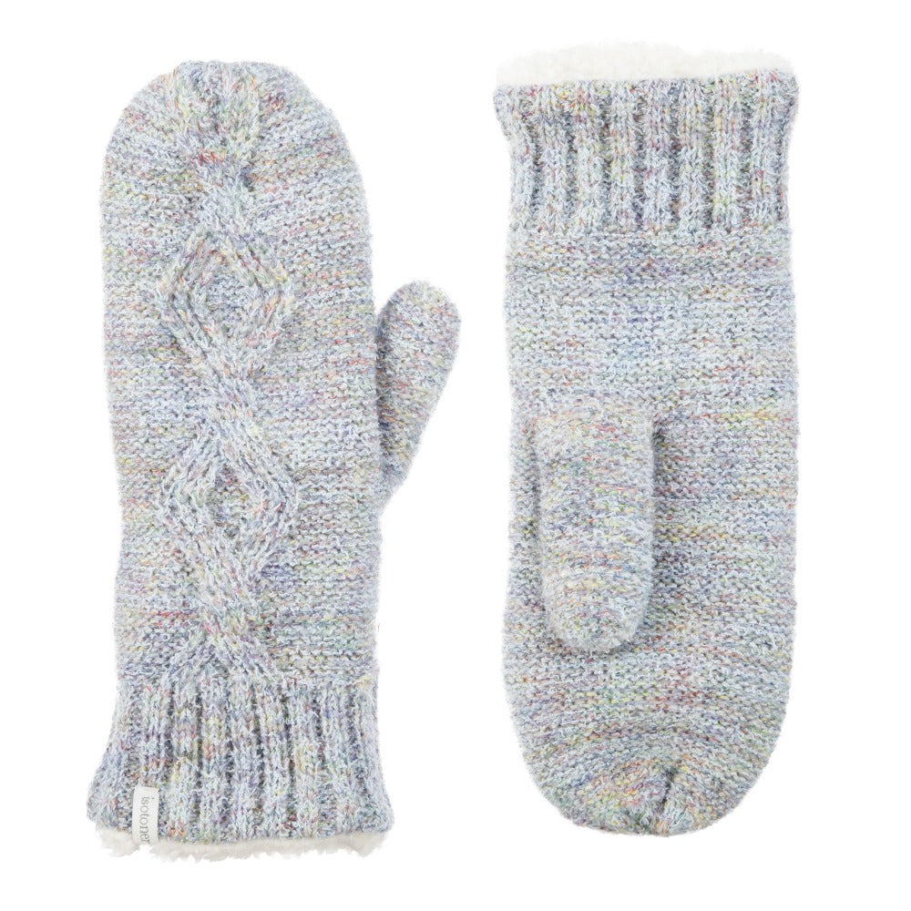 Women's Recycled RPET Cable Knit Mittens in Frost (Grey) Front and Back