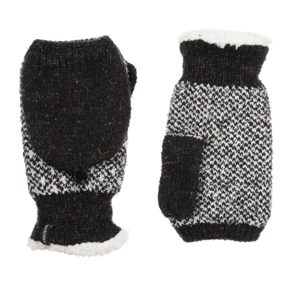 Women's Recycled RPET Flip-Top Gloves in Black Front and Back