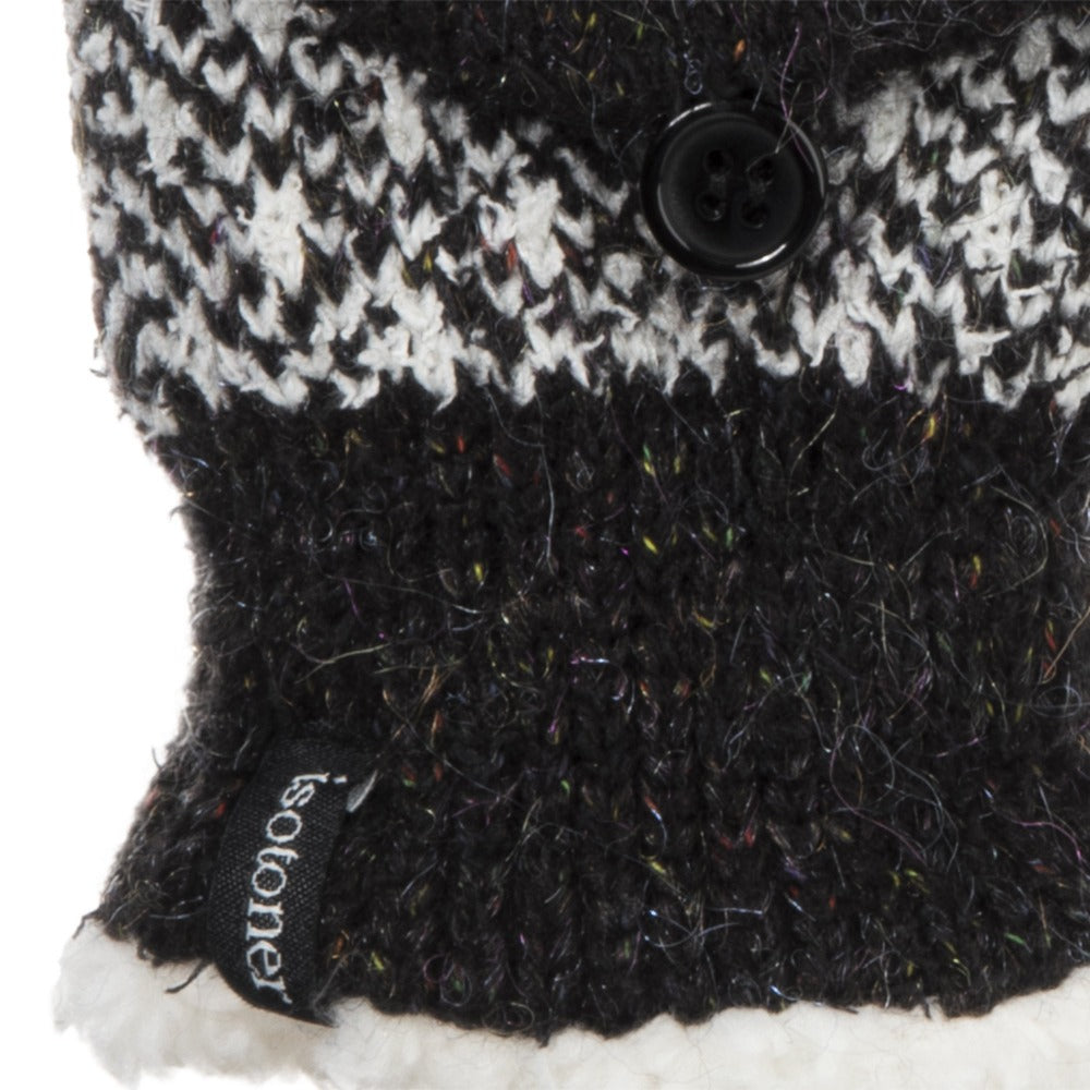 Women's Recycled RPET Flip-Top Gloves in Black Cuff Detail