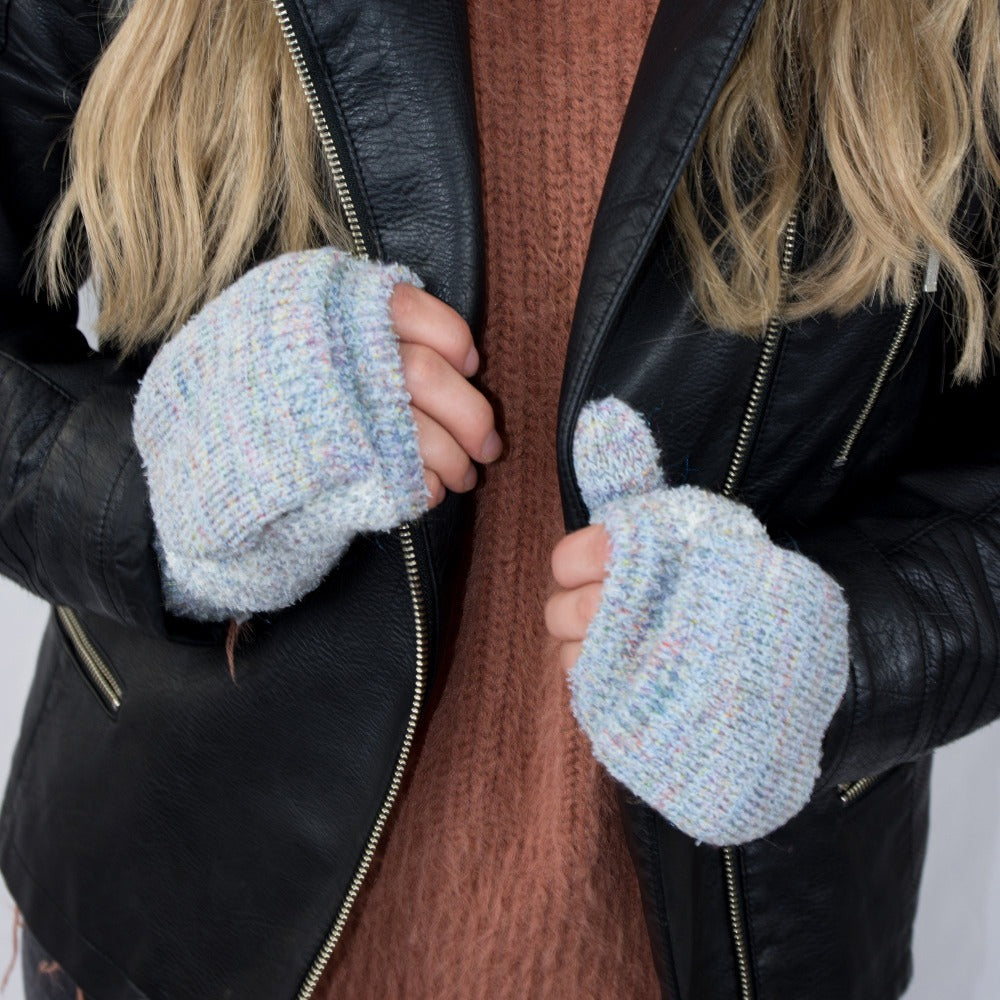 Women's Recycled RPET Flip-Top Gloves in Frost (Grey) on Model