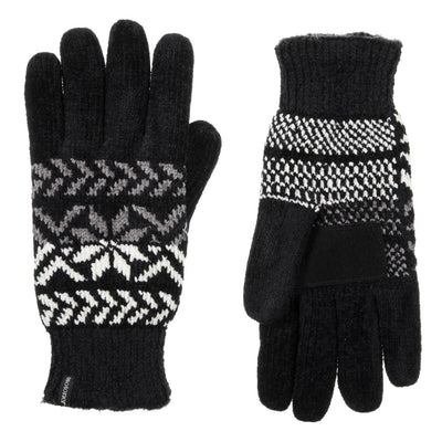 Women's Chenille Snowflake Gloves in Black Front and Back