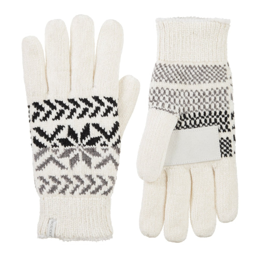 Women's Chenille Snowflake Gloves in Ivory Front and Back