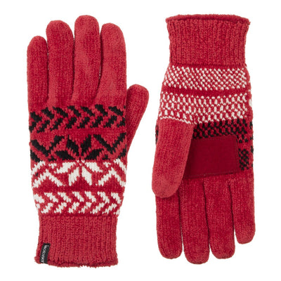 Women's Chenille Snowflake Gloves in Really Red Front and Back