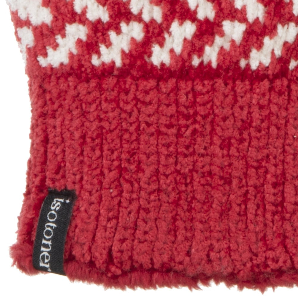 Women's Chenille Snowflake Gloves in Really Red