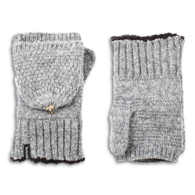 Women's Lined Recycled Fine Gauge Flip-Top Mitten in Charcoal Heather