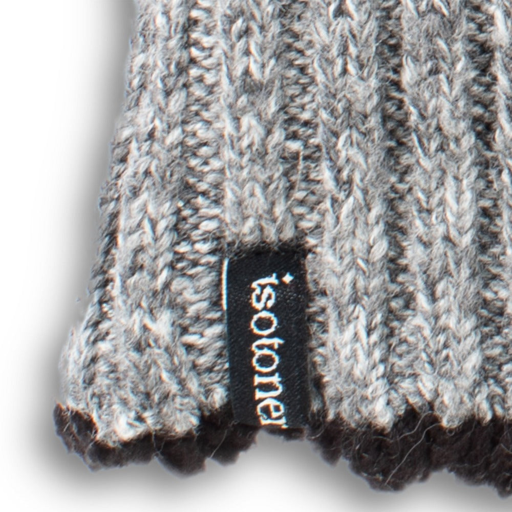 Women's Lined Recycled Fine Gauge Flip-Top Mitten in Charcoal Heather close up on wrist detail