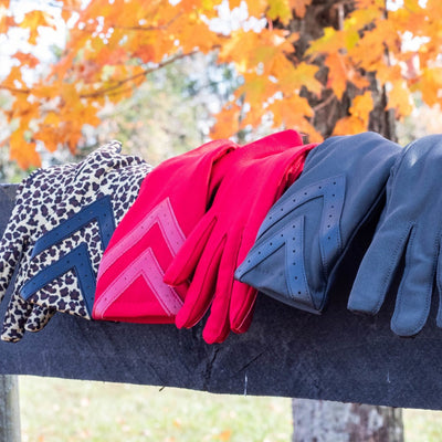 Women's Chevron Spandex Gloves Gloves in various colors laid out