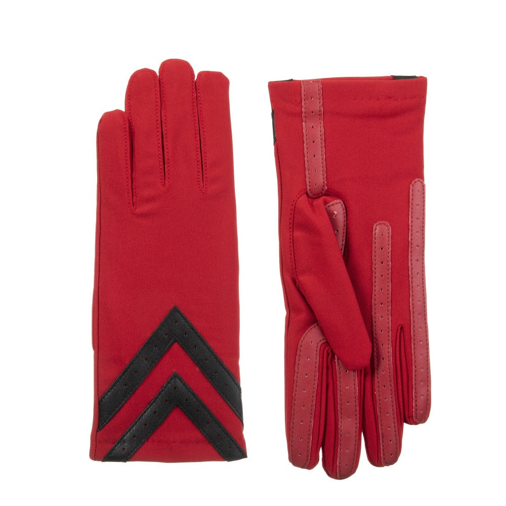 Women's Chevron Spandex Gloves Gloves Really Red Front and Back