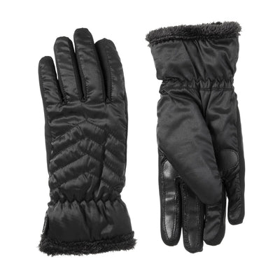 Women's Quilted Chevron Touchscreen Gloves in Black Front and Back
