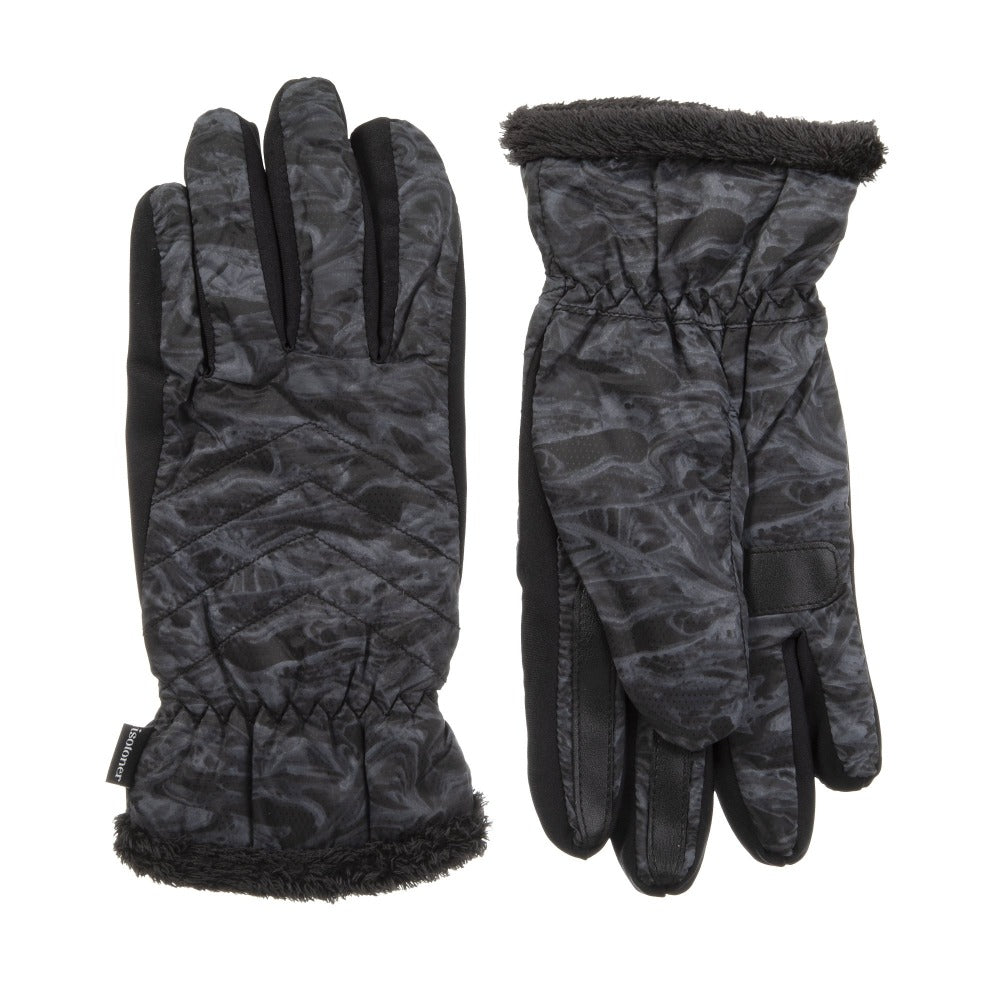 Women's Quilted Chevron Touchscreen Gloves in Gravel Marled Front and Back