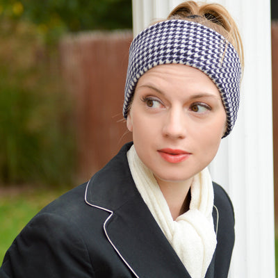Women's Reversible Fleece Headband in Houndstooth on Model