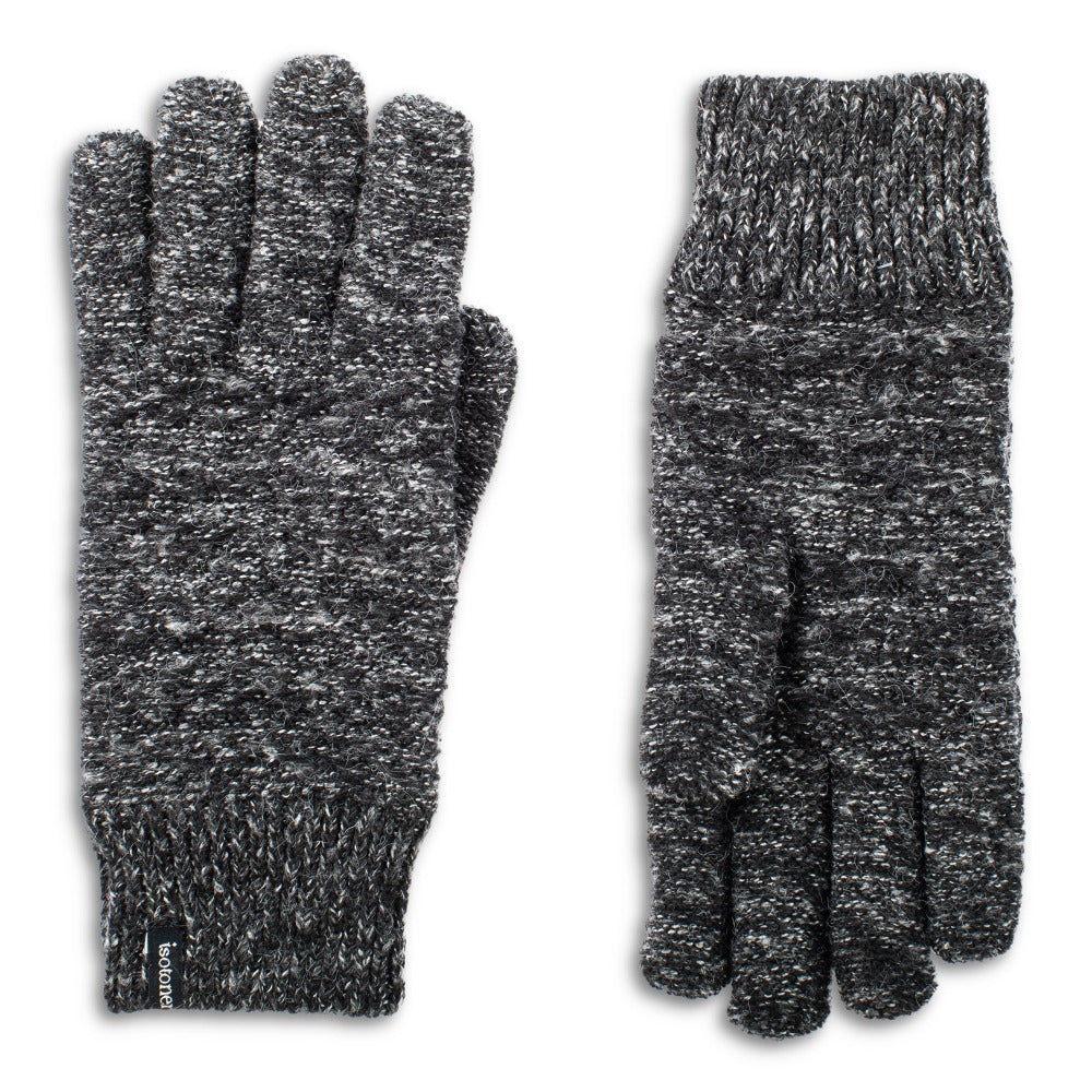 women's marked knit recycled gloves in black