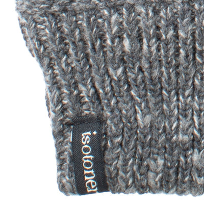 womens marled knit recycled glove close up in gray
