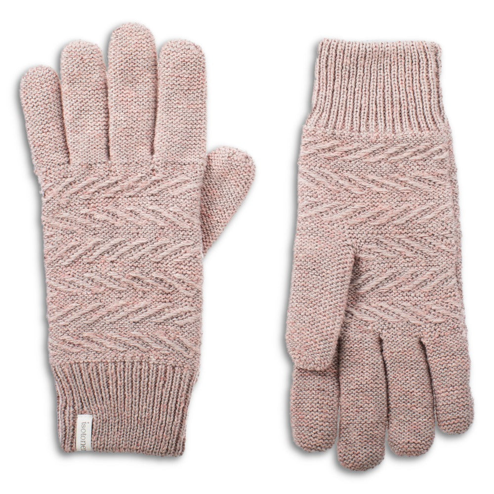 womens marled knit recycled gloves in pink