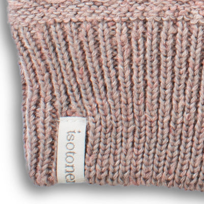 womens marled knit recycled glove close up in pink