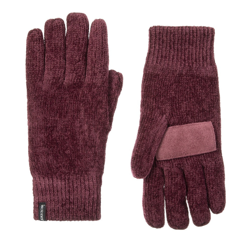 Women's Chenille Gloves with Palm Patch in Henna (Dark Red) Front and Back