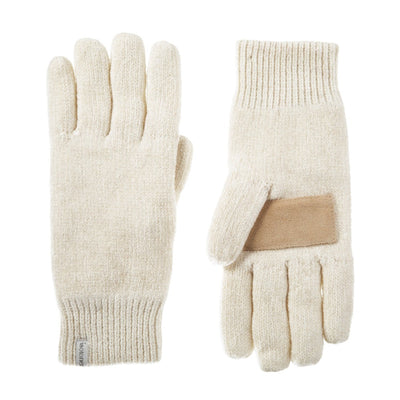 Women's Chenille Gloves with Palm Patch  in Ivory Front and Back