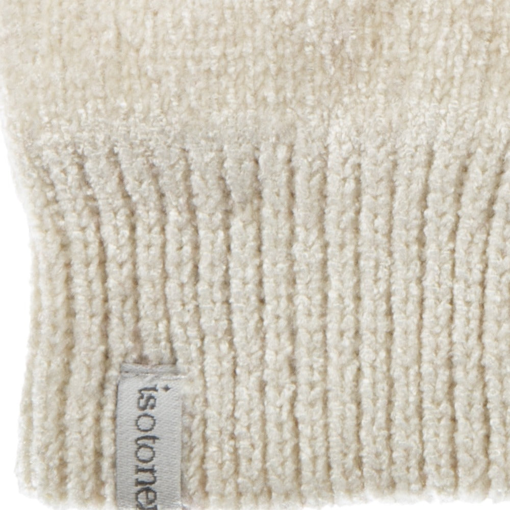 Women's Chenille Gloves with Palm Patch  in Ivory Cuff Detail