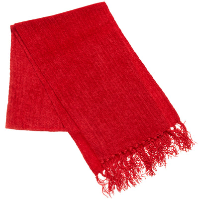Women's Woven Chenille Scarf in Really Red
