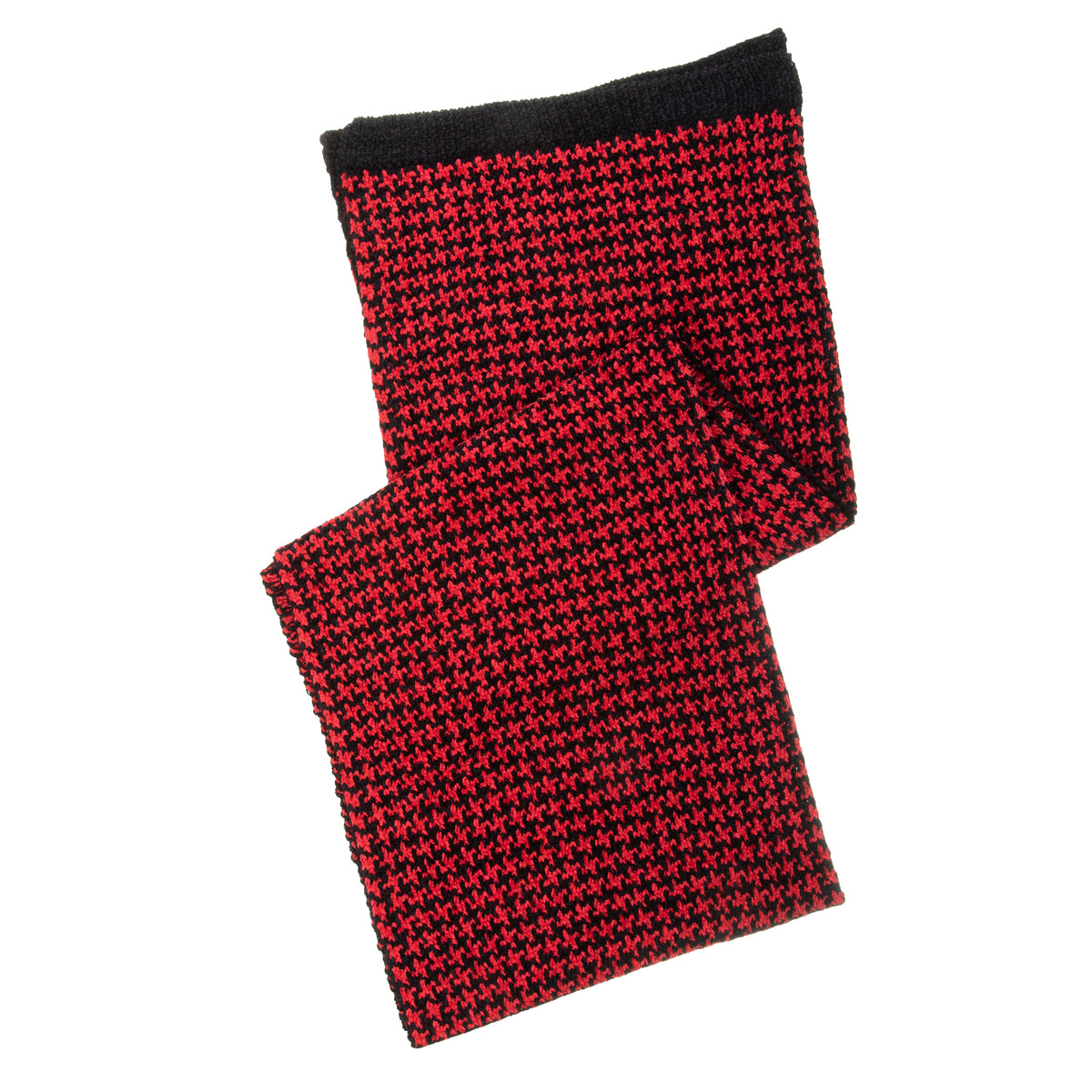 Women's Houndstooth Chenille Scarf in Black and Red
