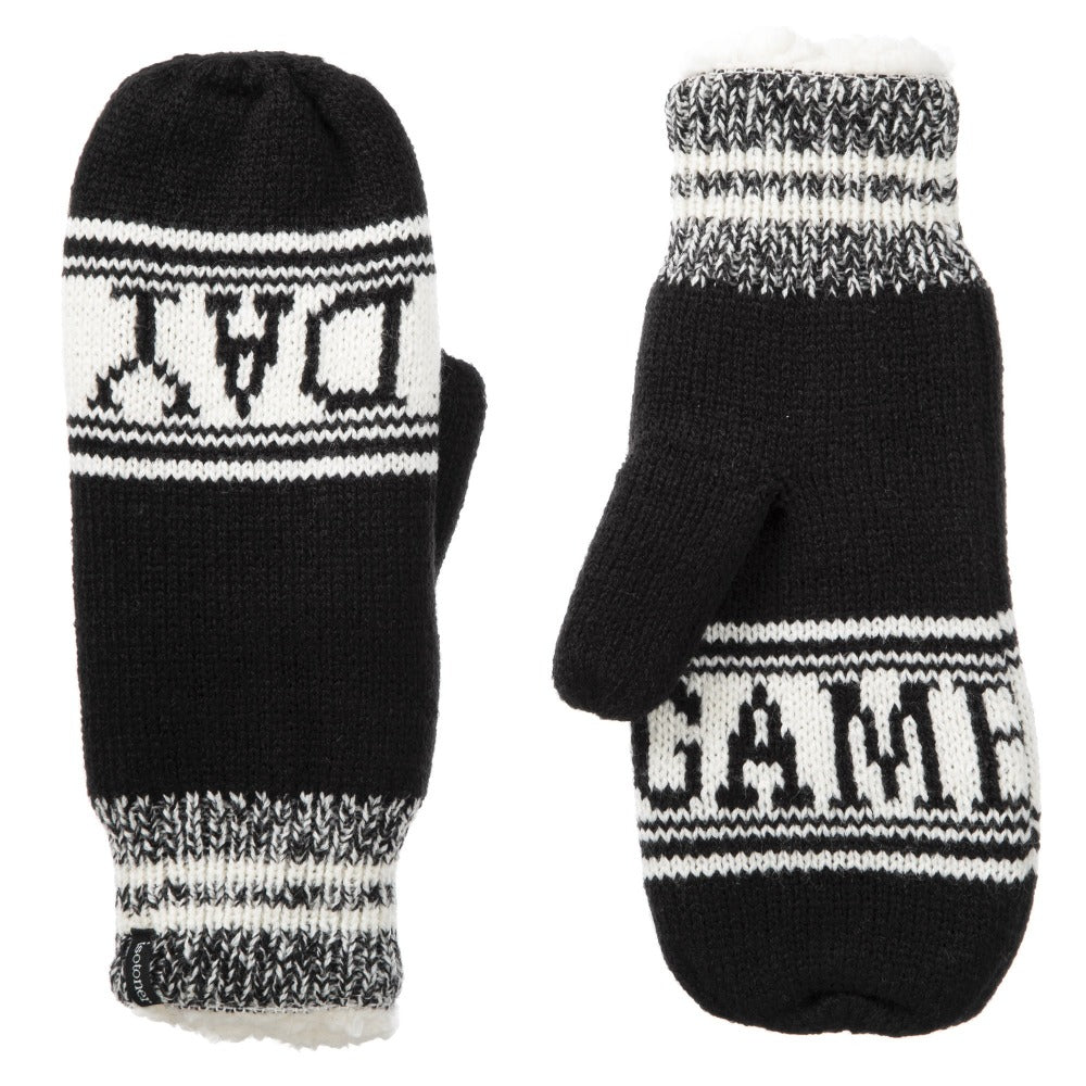 Women's Game Day Mittens Black Front and Back