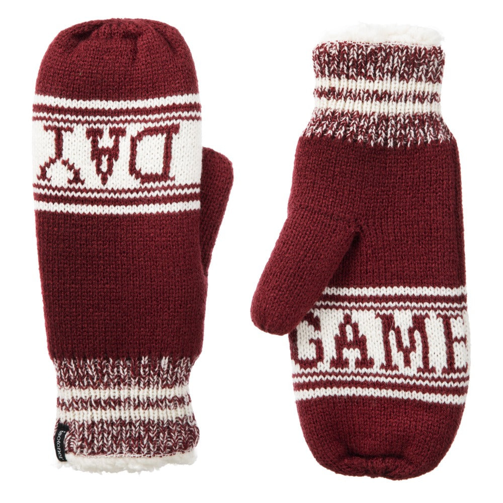 Women's Game Day Mittens Cherry Stone(Red) Front and Back