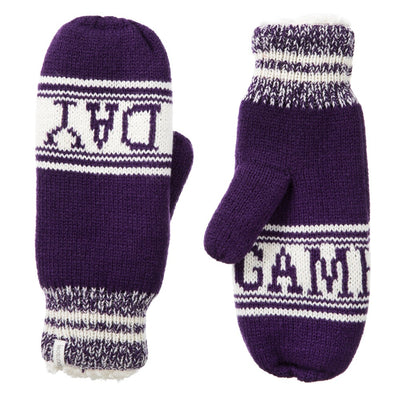 Women's Game Day Mittens Eggplant (Purple) Front and Back