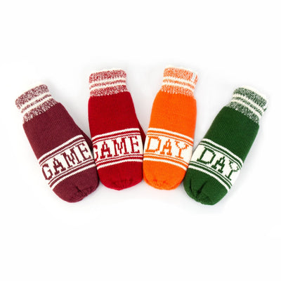 Women's Game Day Mittens Cherry Stone (Red), Really Red, Pumpkin (Orange), Basil (Green) laid out