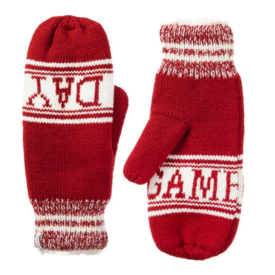 Women's Game Day Mittens Really Red Front and Back