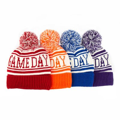 Women's Game Day Hat in Really Red, Pumpkin (Orange), Sapphire (Blue) Eggplant (Purple) Laid Out