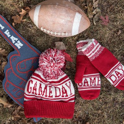 Women's Game Day Mittens Really Red flat with team accessories