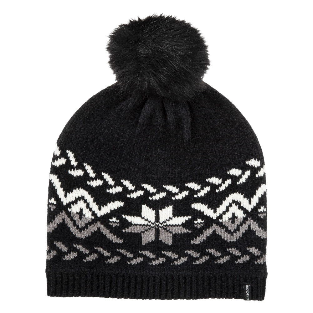 womens chenille snowflake hat with pom in black