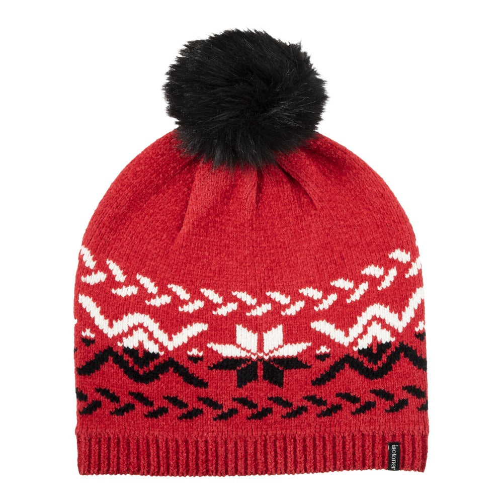 womens chenille snowflake hat with pom in really red