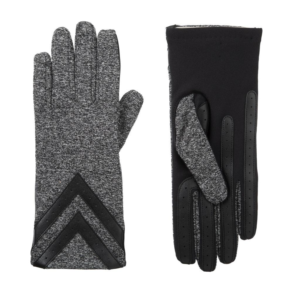 Women's Heritage Chevron Spandex Gloves pair in Dark Charcoal Heather side by side