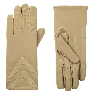 Women's Heritage Chevron Spandex Gloves pair in Camel light tan side by side
