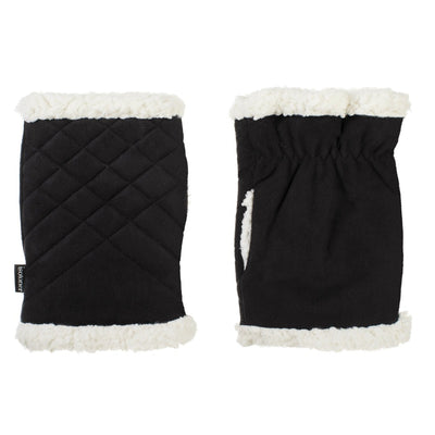 Women's Recycled Microsuede Quilted Glove Cozy in Black side by side