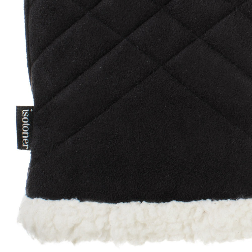 Women's Recycled Microsuede Quilted Glove Cozy in Black close up on wrist and lining detail