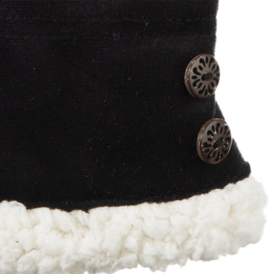 Women's Recycled Microsuede Gloves in Black upclose on wrist and button detail