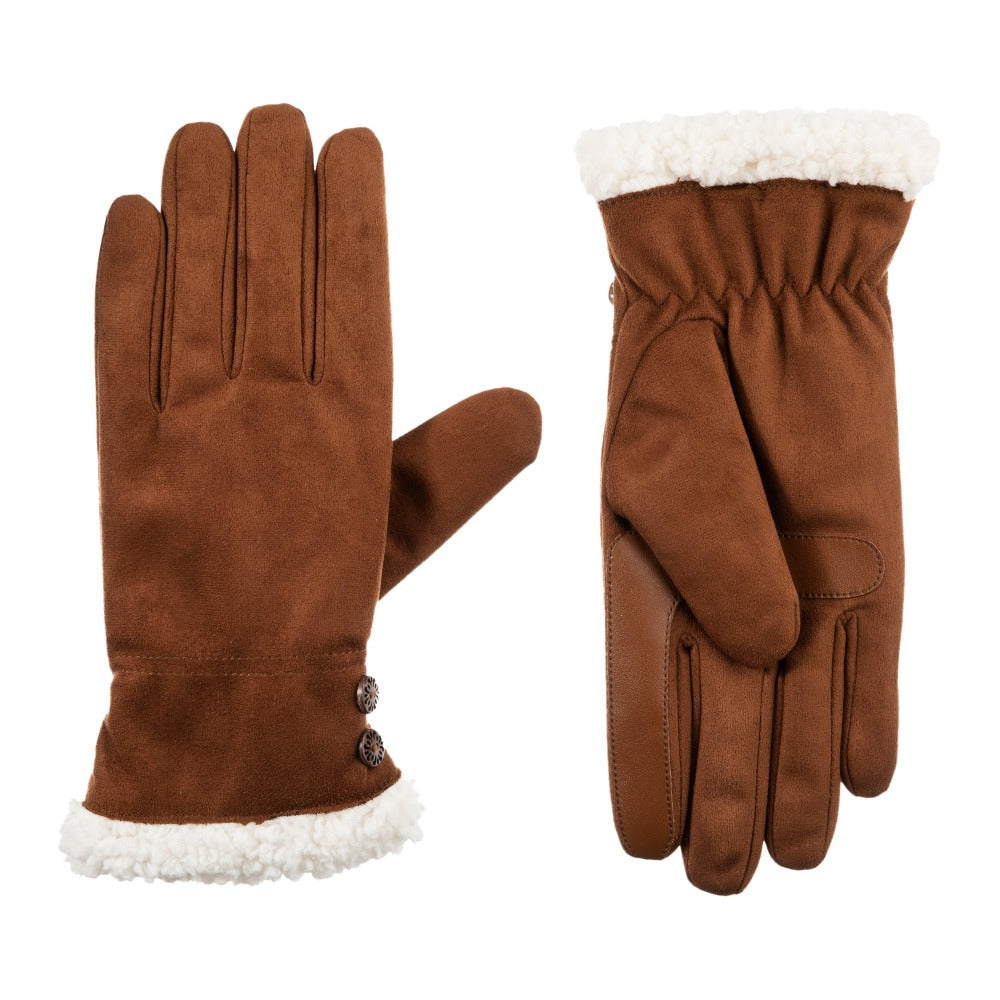 Women's Recycled Microsuede Gloves in Cognac