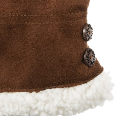 Women's Recycled Microsuede Gloves in Cognac upclose on wrist and button detail