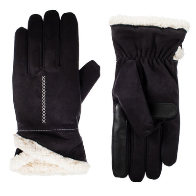 Recycled Microsuede Gloves pair with Overlap Wrist in black side by side