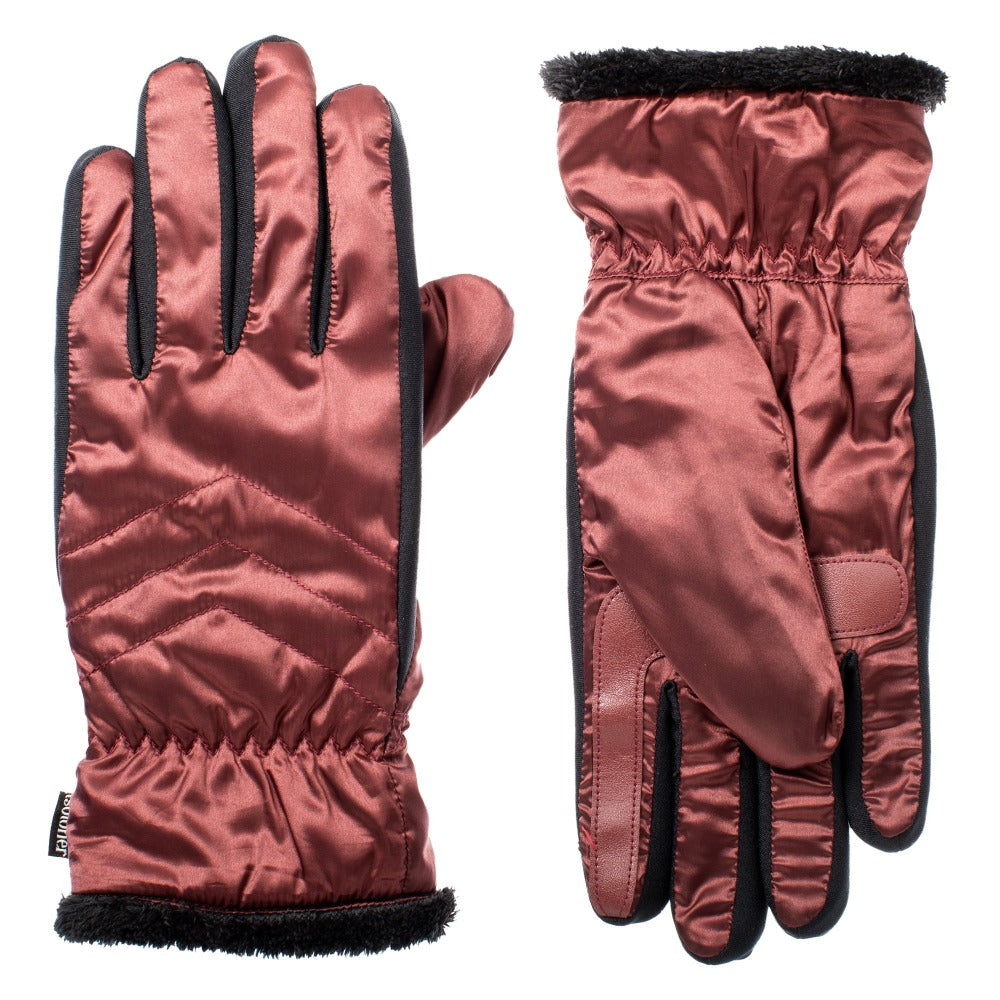 Women's SleekHeat™ Quilted Gloves pair in Port burgundy muted red  side by side