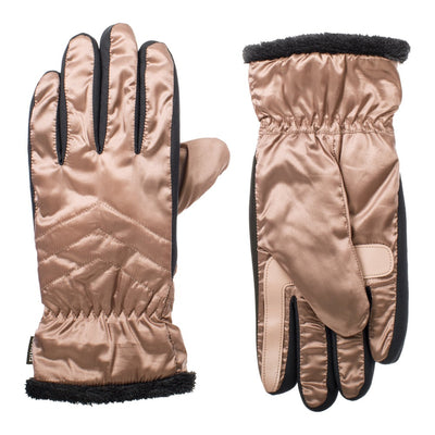 Women's SleekHeat™ Quilted Gloves pair in Wild Blossom muted light pink side by side