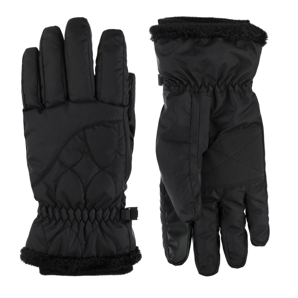Women's Insulated Water Proof Ski Glove pair in Black side by side