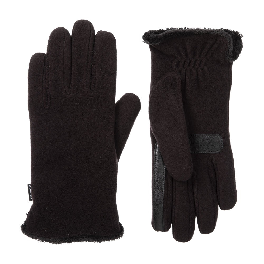 Women's Recycled Stretch Leather Touchscreen Gloves in Black
