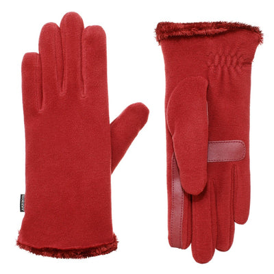 womens recycled stretch fleece glove in chili
