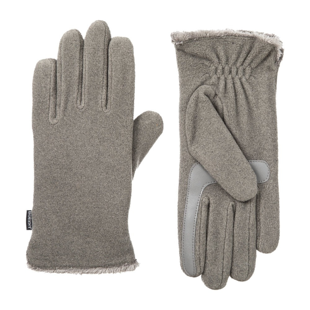 womens recycled stretch fleece glove in heather gray
