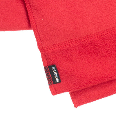 Women's Stretch Fleece Scarf in Chili Red close up on ends of scarf